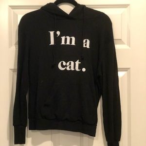 "Small Wildfox ""I'm a cat."" Black Hoodie"